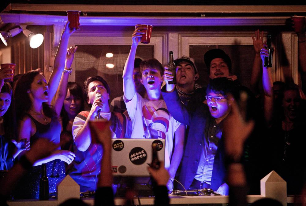 PROJECT X, center from left: Oliver Cooper (microphone), Thomas Mann, Jonathan Daniel Brown, 2012. ph: Beth Dubber/©Warner Bros.
