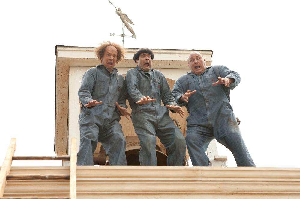 THE THREE STOOGES, from left: Sean Hayes as Larry, Chris Diamantopoulos as Moe, Will Sasso as Curly, 2012. ph: Peter Iovino/TM & copyright ©20th Century Fox Film Corp. All rights reserved