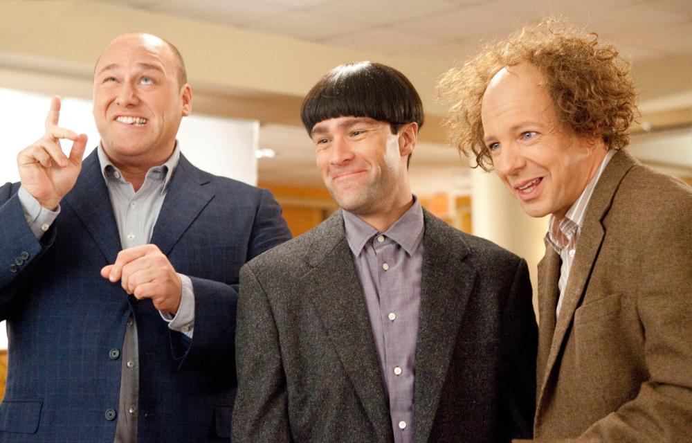 THE THREE STOOGES, from left: Will Sasso as Curly, Chris Diamantopoulos as Moe, Sean Hayes as Larry, 2012. ph: Peter Iovino/TM & copyright ©20th Century Fox Film Corp. All rights reserved