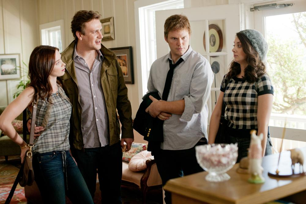 THE FIVE-YEAR ENGAGEMENT, from left: Emily Blunt, Jason Segel, Chris Pratt, Alison Brie, 2012. ph: Glen Wilson/©Universal Pictures
