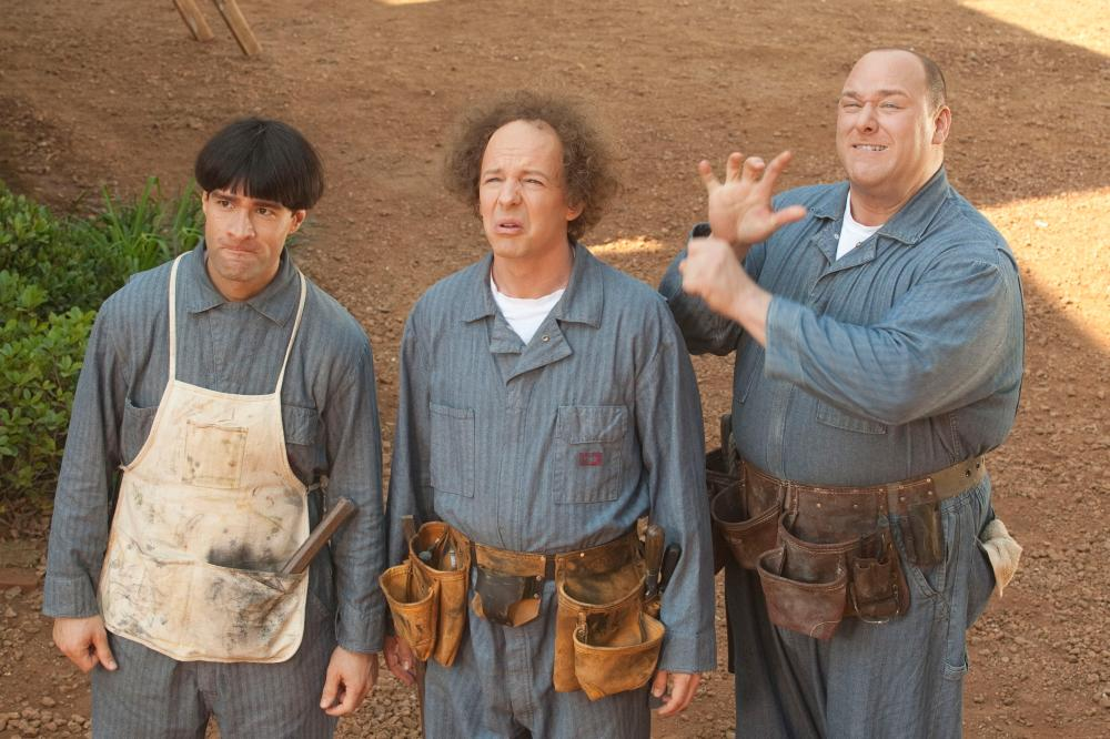 THE THREE STOOGES, from left: Chris Diamantopoulos as Moe, Sean Hayes as Larry, Will Sasso as Curly, 2012. ph: Peter Iovino/TM & copyright ©20th Century Fox Film Corp. All rights reserved
