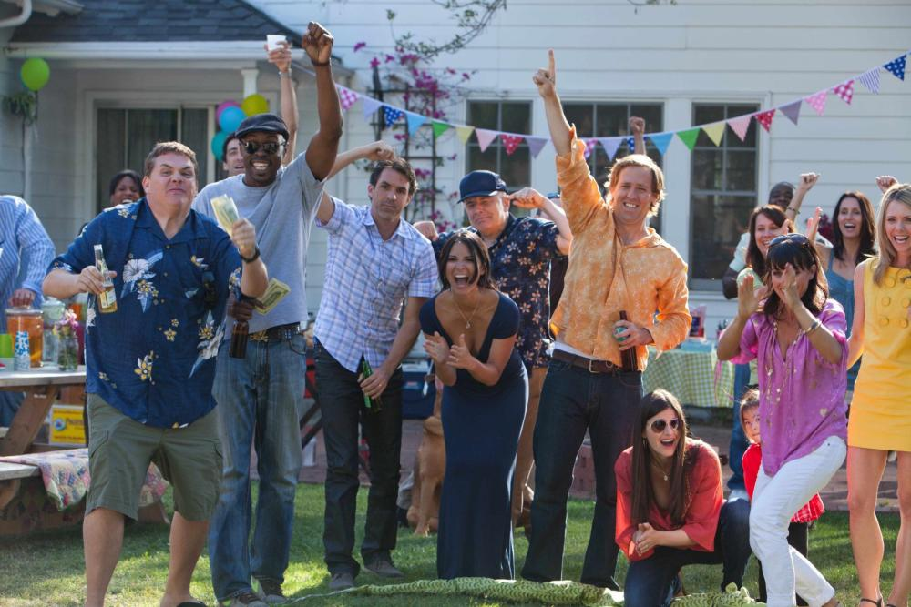 THE BABYMAKERS, from left: Kevin Heffernan, Wood Harris, Paul Schneider, Olivia Munn, Jude Ciccolella, Nat Faxon, Lindsey Kraft, Constance Zimmer, Collette Wolfe, 2012. ph: Dan McFadden/©Millennium Entertainment