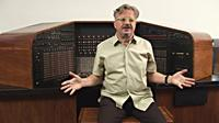 DECONSTRUCTING DAD: THE MUSIC, MACHINES AND MYSTERY OF RAYMOND SCOTT, Mark Mothersbaugh, with the Electronium, 2010. ©Cavu Pictures