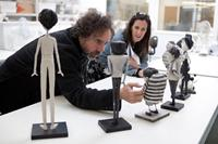FRANKENWEENIE, from left: director Tim Burton, Allison Abbate, on set, 2012. Ph: Leah Gallo/©Walt Disney Pictures