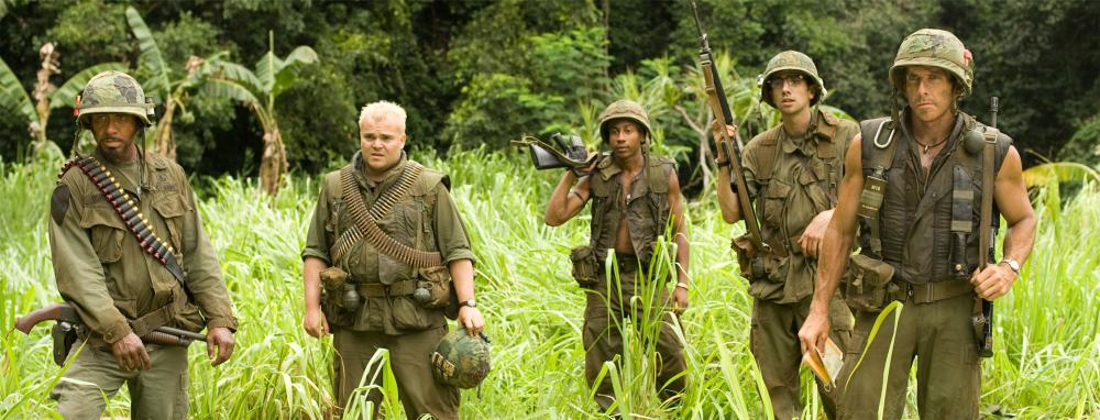 "Robert Downey Jr., Jack Black, Brandon T. Jackson, Jay Baruchel and Ben Stiller in ""Tropic Thunder"""