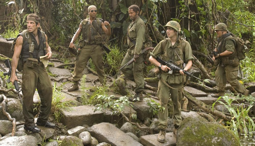 "Ben Stiller, Brandon T. Jackson, Robert Downey Jr., Jay Baruchel and Jack Black in ""Tropic Thunder"""
