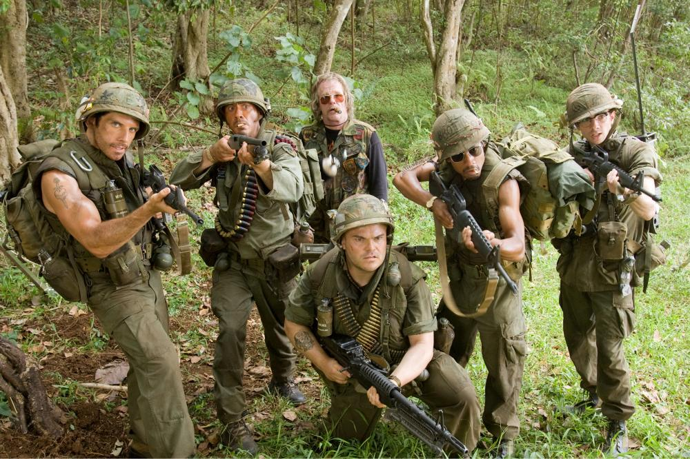 "Ben Stiller, Robert Downey Jr., Nick Nolte, Jack Black, Brandon T. Jackson and Jay Baruchel in ""Tropic Thunder"""