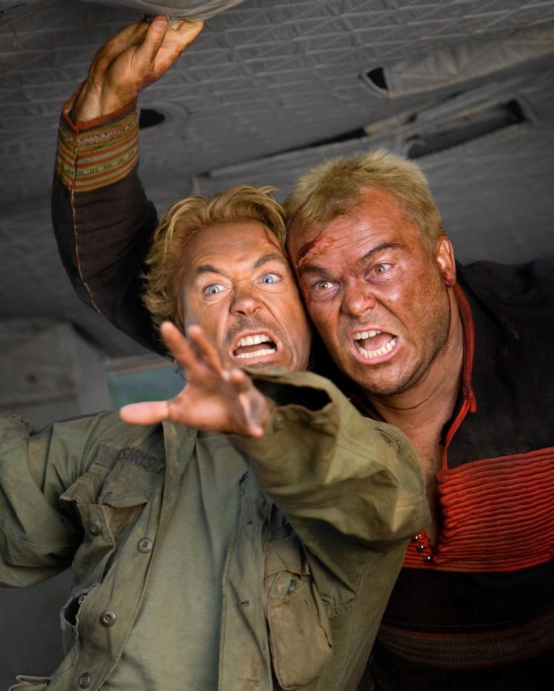 "Robert Downey Jr. and Jack Black in ""Tropic Thunder"""