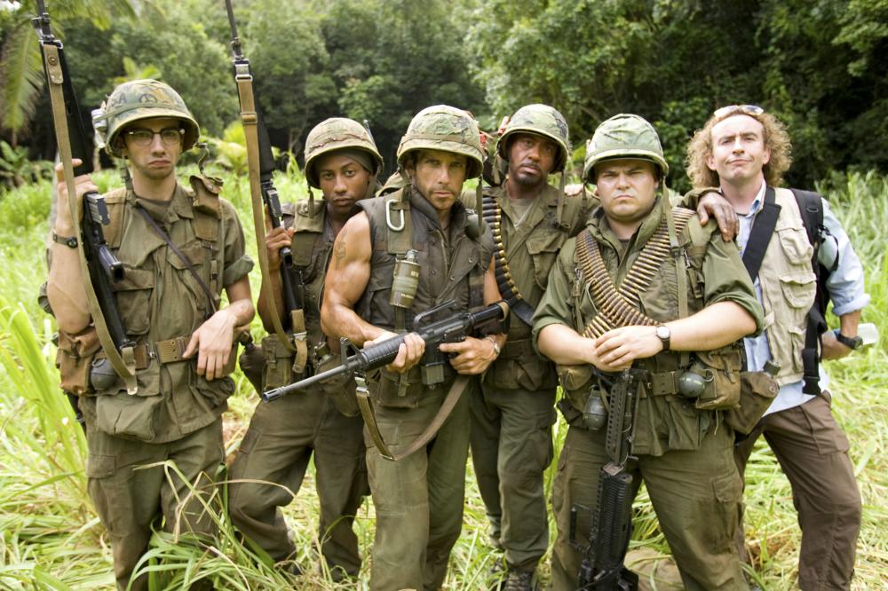 "Jay Baruchel, Brandon T. Jackson, Ben Stiller, Robert Downey Jr., Jack Black and Steve Coogan in ""Tropic Thunder"""