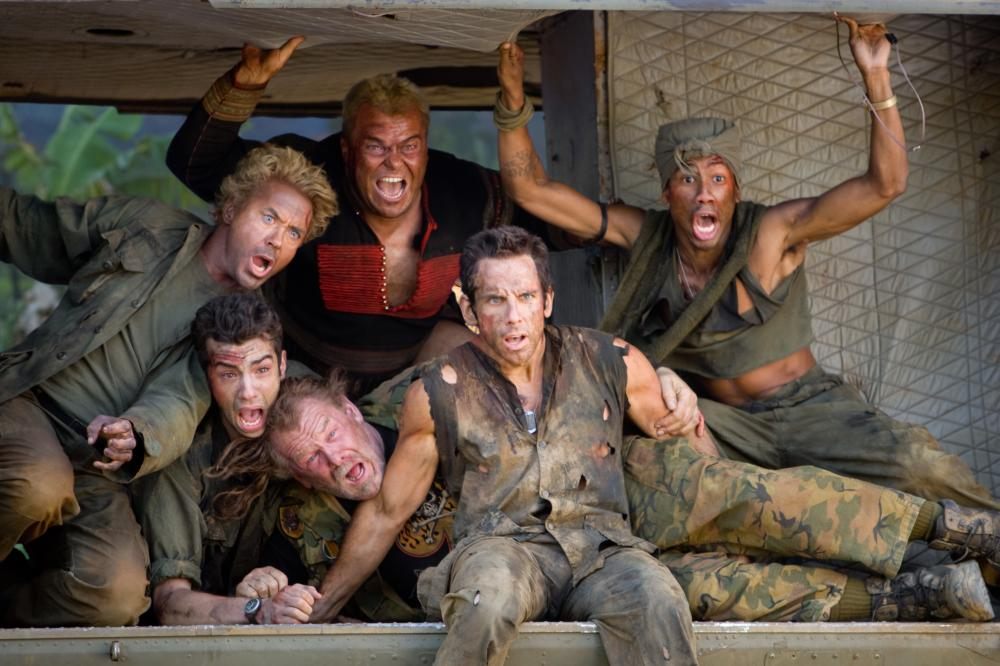 "Robert Downey Jr., Jay Baruchel, Jack Black, Nick Nolte, Ben Stiller and Brandon T. Jackson in ""Tropic Thunder"""