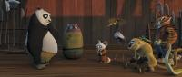 "Po (Jack Black), Shifu (Dustin Hoffman), Crane (David Cross), Master Monkey (Jackie Chan), Mantis (Seth Rogen), Master Viper (Lucy Liu) and Tigress (Angelina Jolie)  in ""Kung Fu Panda"""