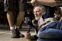 "Steven Spielberg on the set of ""Indiana Jones and the Kingdom of the Crystal Skull"""