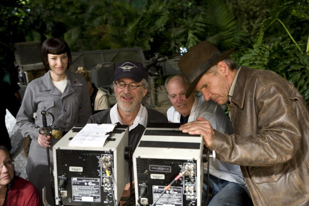 "Cate Blanchett, Steven Spielberg and Harrison Ford on the set of ""Indiana Jones and the Kingdom of the Crystal Skull"""
