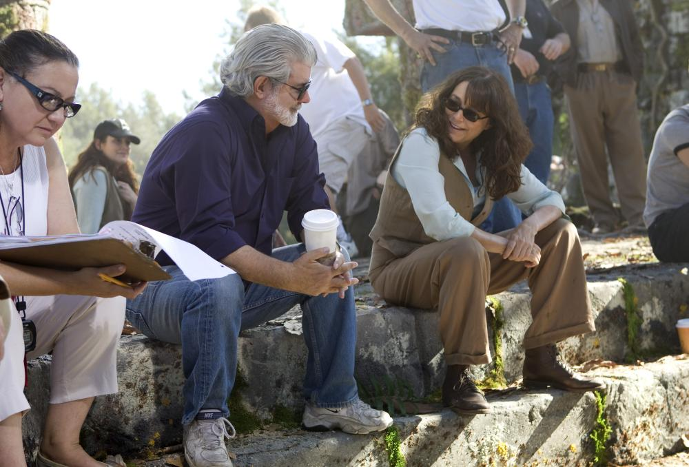 """George Lucas and Karen Allen on the set of """"Indiana Jones and the Kingdom of the Crystal Skull"""""""