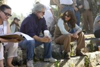 "George Lucas and Karen Allen on the set of ""Indiana Jones and the Kingdom of the Crystal Skull"""