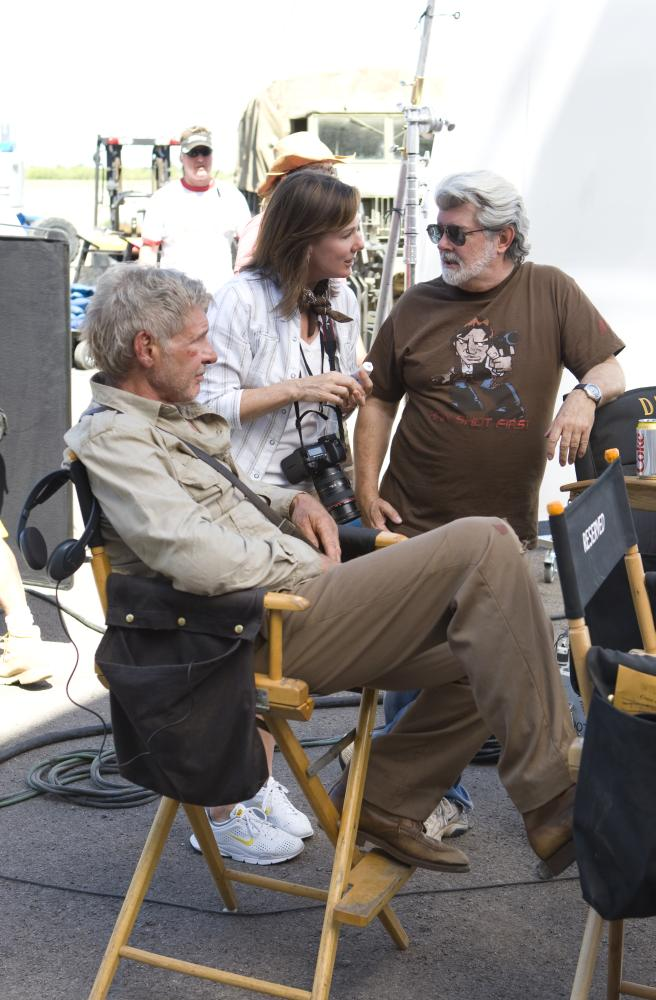 """Harrison Ford and George Lucas on the set of """"Indiana Jones and the Kingdom of the Crystal Skull"""""""