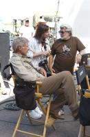 "Harrison Ford and George Lucas on the set of ""Indiana Jones and the Kingdom of the Crystal Skull"""