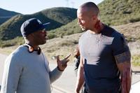 FASTER, from left: director George Tillman Jr., Dwayne Johnson, on set, 2010, ph: Chuck Hodes/©CBS Films