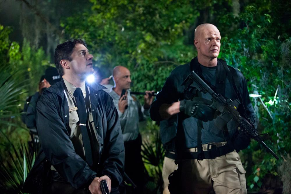 HATCHET III, from left: Zach Galligan, Derek Mears, 2012. ©Dark Sky Films
