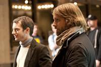 MANIAC, from left: Elijah Wood, writer Alexandre Aja, on set, 2012. ©Wild Bunch