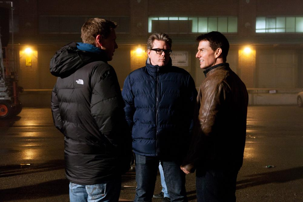 JACK REACHER, from left: producer David Ellison, director Christopher McQuarrie, Tom Cruise, on set, 2012. ph: Karen Ballard/©Paramount Pictures