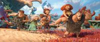 THE CROODS, adults from left: Thunk (voice: Clark Duke), Gran (voice: Cloris Leachman), Ugga (voice: Catherine Keener), Eep (voice: Emma Stone), Grug (voice: Nicolas Cage), 2013. TM & copyright ©20th Century Fox Film Corp. All rights reserved