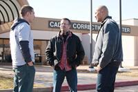 SNITCH, from left: Jon Bernthal, director Ric Roman Waugh, Dwayne Johnson, on set, 2013. ph: Steve Dietl/©Summit Entertainment