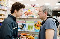 ADMISSION, from left: Nat Wolff, director Paul Weitz, on set, 2013. ph: David Lee/©Focus Features
