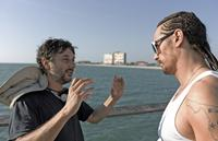 SPRING BREAKERS, from left: director Harmony Korine, James Franco, on set, 2012./©Annapurna Pictures