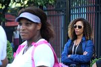 VENUS AND SERENA, from left: Serena Williams, director Michelle Major, on set, 2012. ©Magnolia Pictures