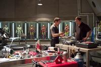 IRON MAN 3, Robert Downey Jr. as Iron Man, director Shane Black, on set, 2013. ph: Zade Rosenthal/©Walt Disney Pictures