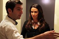 A GREEN STORY, from left: writer/director Nick Agiashvili, Shannon Elizabeth, on set, 2012. ©Indican Pictures