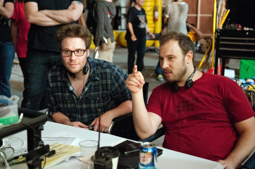 THIS IS THE END, from left: directors Seth Rogen, Evan Goldberg, on set, 2013. ph: Suzanne Hanover/©Sony Pictures