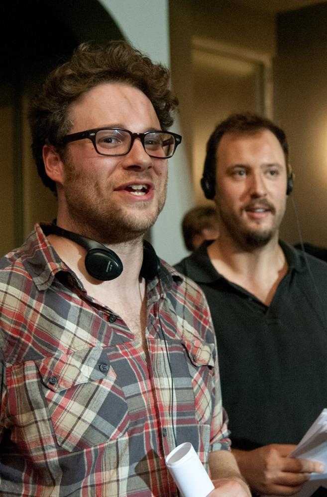 THIS IS THE END, from left: co-directors Seth Rogen, Evan Goldberg, on set, 2013. ph: Suzanne Hanover/©Sony Pictures