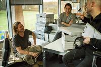 WORLD WAR Z, from left: Brad Pitt, producer Jeremy Kleiner, director Marc Forster, on set, 2013. ph: Jaap Buitendijk/©Paramount Pictures