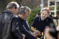 THE FAMILY, from left: Tommy Lee Jones, director Luc Besson, Robert DeNiro, on set, 2013. ph: Jessica Forde/©Relativity Media