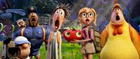 CLOUDY WITH A CHANCE OF MEATBALLS 2, l-r: Manny (voice: Benjamin Bratt), Steve the Monkey (voice: Neil Patrick Harris), Earl (voice: Terry Crews), Flint (voice: Bill Hader), Barry the Strawberry, Sam Sparks (voice: Anna Faris), Brent (voice: Andy Samberg),