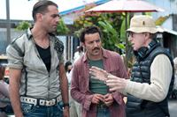 BLUE JASMINE, from left: Bobby Cannavale, Max Casella, director Woody Allen, on set, 2013. ph: Merrick Morton/©Sony Pictures Classics