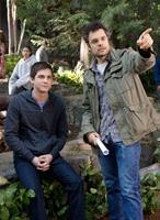 PERCY JACKSON: SEA OF MONSTERS, from left: Logan Lerman, director Thor Freudenthal, on set, 2013. ph: Murray Close/TM & copyright ©20th Century Fox Film Corp. All rights reserved