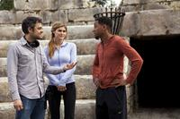 PERCY JACKSON: SEA OF MONSTERS, from left: director Thor Freudenthal, Alexandra Daddario, Brandon T. Jackson, on set, 2013. ph: Murray Close/TM & copyright ©20th Century Fox Film Corp. All rights reserved