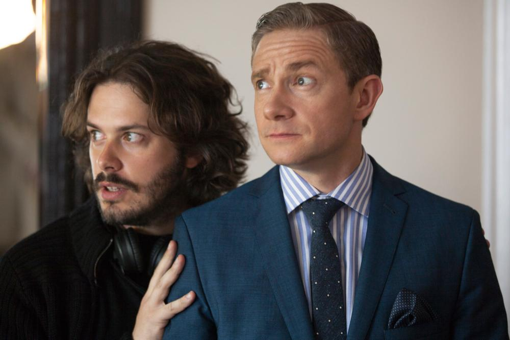 THE WORLD'S END, from left: director Edgar Wright, Martin Freeman, on set, 2013, ph: Laurie Sparham/©Focus Features