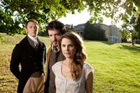 AUSTENLAND, from left: JJ Feild, Bret McKenzie, Keri Russell, 2013. Ph: Giles Keyte/©Sony Pictures Classics