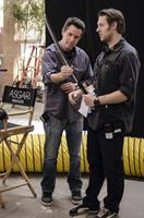 ELYSIUM, from left: producer Simon Kinberg, director Neill Blomkamp, on set, 2013. ph: Stephanie Blomkamp/©Sony Pictures