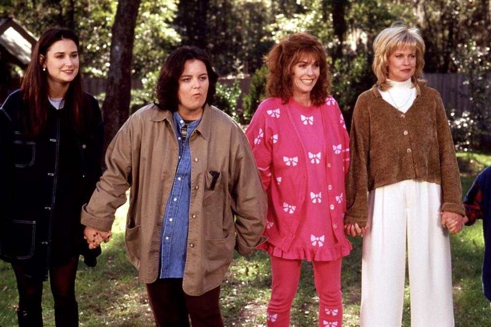 NOW AND THEN, Demi Moore, Rosie O'Donnell, Rita Wilson, Melanie Griffith, 1995, holding hands