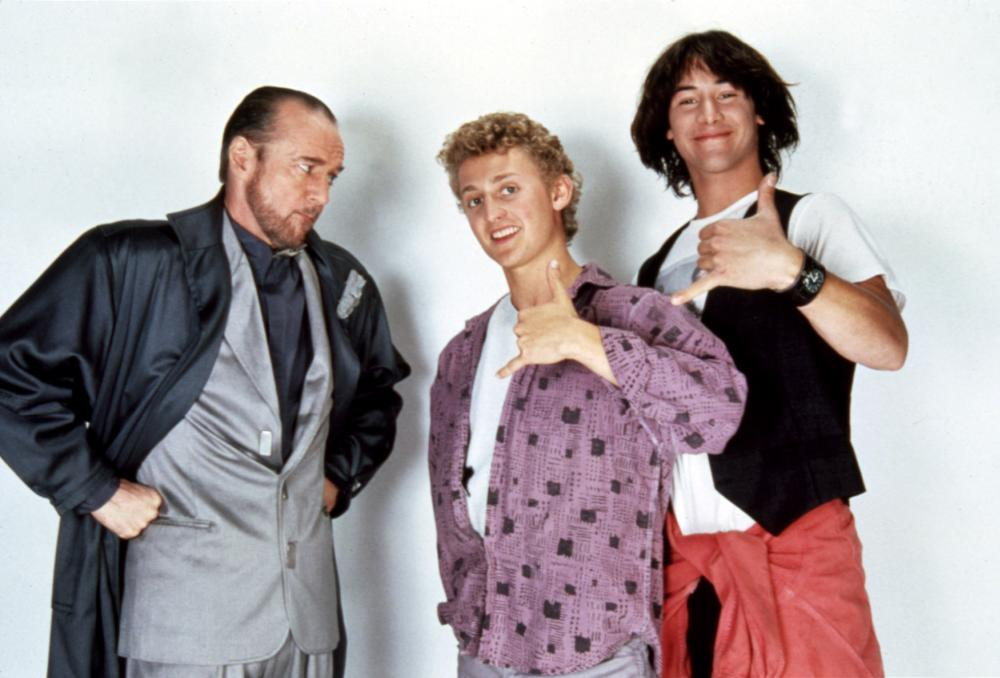 BILL AND TED'S EXCELLENT ADVENTURE, George Carlin, Alex Winter, Keanu Reeves, 1989