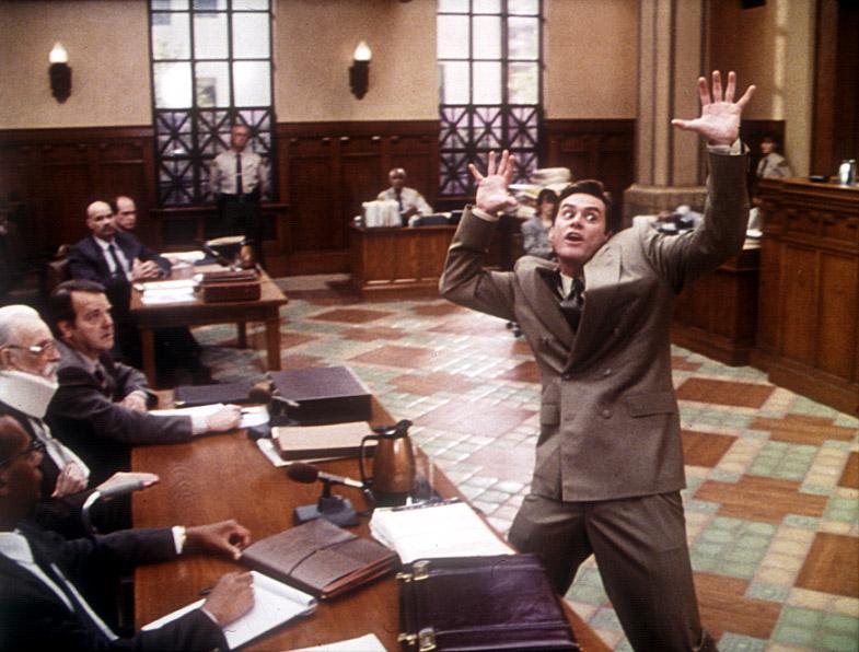 LIAR LIAR, Jim Carrey, 1997, courtroom
