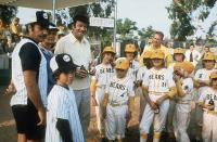 THE BAD NEWS BEARS, Vic Morrow, Walter Matthau, Tatum O'Neal, 1976, on the baseball field