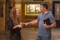 CARRIE, from left: Julianne Moore, producer Kevin Misher, on set, 2013. ph: Michael Gibson/©Sony Pictures