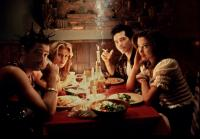 SUMMER OF SAM, Adrien Brody, Jennifer Esposito, John Leguizamo, Mira Sorvino, 1999, in the Italian restaurant