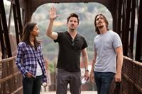 OUT OF THE FURNACE, from left: Zoe Saldana, director Scott Cooper, Christian Bale, on set, 2013, ph: Kerry Hayes/©Relativity Media